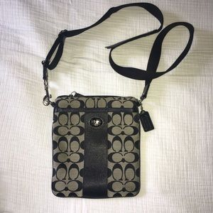 Cross body grey & black Coach purse
